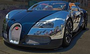 Bugatti Veyron Posters - 0 To 60 In 2 Poster by DigiArt Diaries by Vicky Browning