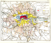 London Map Paintings - Map Of London, 1881 by Granger