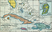 Latin America Paintings - Columbus: West Indies Map by Granger