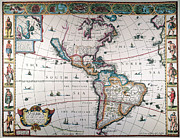 1616 Framed Prints - New World Map, 1616 Framed Print by Granger