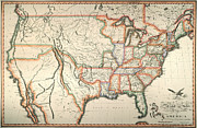 Territory Paintings - Map: United States, 1820 by Granger