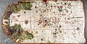 Portolan Chart Painting Posters - Nina: World Map, 1500 Poster by Granger