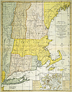 Connecticut Painting Framed Prints - NEW ENGLAND MAP, c1775 Framed Print by Granger