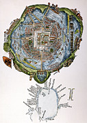 Woodcut Paintings - Tenochtitlan (mexico City) by Granger
