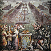 Warship Prints - Battle Of Lepanto, 1571 Print by Granger