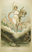 Political Allegory Metal Prints - Atlanta Exposition, 1895 Metal Print by Granger
