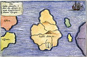 Atlantis Paintings - Map Of Atlantis, 1678 by Granger