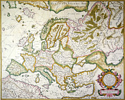 Atlas Paintings - Map Of Europe, 1623 by Granger