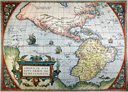 Theatrum Orbis Terrarum Framed Prints - New World Map, 1570 Framed Print by Granger