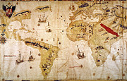 Portolan Chart Painting Posters - Vespuccis World Map, 1526 Poster by Granger