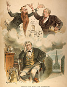Stock Market Painting Posters - Cartoon: Panic Of 1893 Poster by Granger
