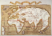 Elephant Prints - Waldseemuller: World Map Print by Granger