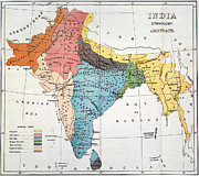 Raj Framed Prints - INDIA: MAP, 19th CENTURY Framed Print by Granger