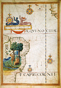Portolan Chart Painting Posters - Brazil: Map And Native Indians Poster by Granger