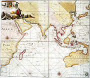Portolan Chart Painting Posters - Indian Ocean: Map, 1705 Poster by Granger