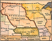 1854 Prints - Kansas-nebraska Map, 1854 Print by Granger