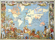Arts And Crafts Movement Framed Prints - Map: British Empire, 1886 Framed Print by Granger