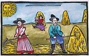 Woodcut Paintings - Love Among Haystacks by Granger