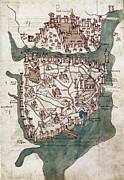 Buondelmonti Framed Prints - Constantinople, 1420 Framed Print by Granger