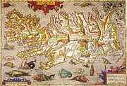 Atlas Paintings - Iceland: Map, 1595 by Granger