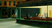 Women Glass Framed Prints - Hopper: Nighthawks, 1942 Framed Print by Granger