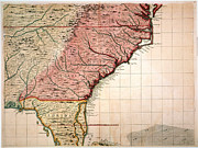 1733 Posters - Colonial America Map, 1733 Poster by Granger