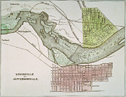Ohio River Painting Posters - Jeffersonville, Indiana: Map Poster by Granger
