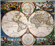 Jansson Posters - World Map, 17th Century Poster by Granger