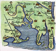 Woodcut Paintings - New England Map 1677 by Granger
