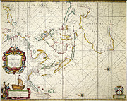 Portolan Chart Painting Posters - Map: East Indies, 1670 Poster by Granger