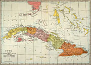 Latin America Paintings - Map: Cuba, 1900 by Granger