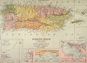 Puerto Rico Paintings - Map: Puerto Rico, 1900 by Granger
