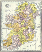 Ireland Map Framed Prints - MAP: IRELAND, c1890 Framed Print by Granger