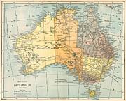 Map: Australia, C1890 Print by Granger