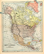 Caribbean Paintings - Map: North America, 1890 by Granger
