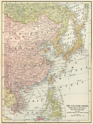Korea Paintings - Map: East Asia, 1907 by Granger
