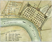 New Orleans Posters - Plan Of New Orleans, 1798 Poster by Granger