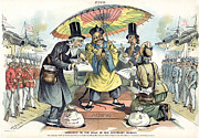Kneel Framed Prints - Missionary Cartoon, 1895 Framed Print by Granger