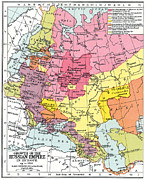 Russia Paintings - Map: Expansion Of Russia by Granger