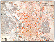 Early Painting Prints - SPAIN: MADRID MAP, c1920 Print by Granger