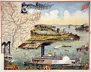 Mississippi Map Prints - Mississippi Steamboat Print by Granger