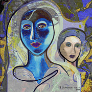 Two Faces Posters - 092 - Blue Lady  Poster by Irmgard Schoendorf Welch