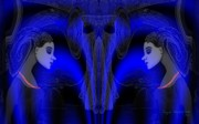 Portrait Of Woman Digital Art - 095 - Blue Haze   by Irmgard Schoendorf Welch