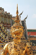 Religious Art Tapestries - Textiles Metal Prints -  Demon Guardian Statues at Wat Phra Kaew Metal Print by Panyanon Hankhampa