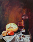 Tangerine Paintings -  Still Life with wine by Rose Sciberras
