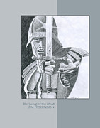 Hebrew Drawings Originals - 019 The Sword of the Word by James Robinson