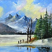 Canvas Ceramics Posters - 1130b Mountain Lake Scene Poster by Wilma Manhardt