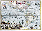 Americas Map Posters - 17th Century Map Of The New World Poster by Georgette Douwma
