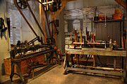 Woodworking Prints - 18th Century Machine Shop Print by Judi Quelland