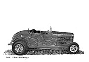 Ink Wash Prints - 1932 Ford Hi Boy Hot Rod Print by Jack Pumphrey